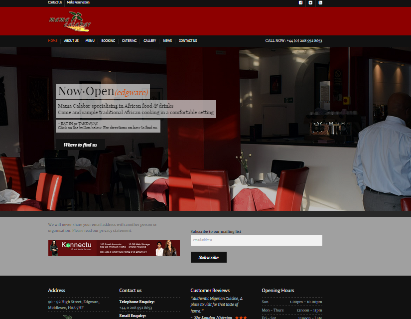 Mama Calabar London Restaurant Website Design