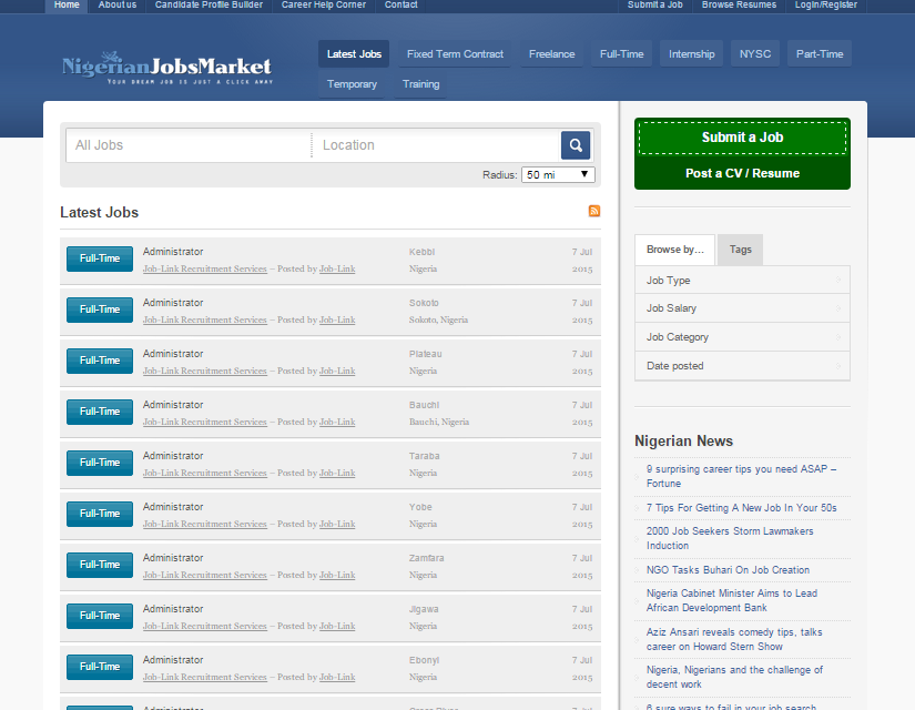 Nigerian Jobs Market web designs