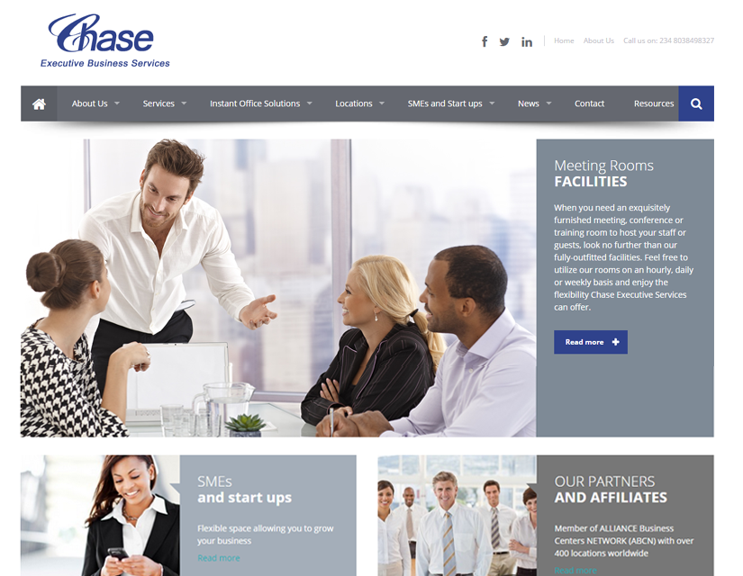 Chase Executive Business Servicess Website design