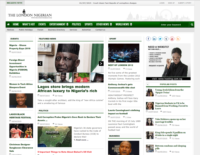 The London Nigerian website design by Plainsail Solution