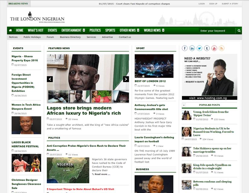 The London Nigerian website design by Plainsail Solution